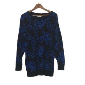 Vintage Blue & Black FLORAL Oversized Knit Sweater